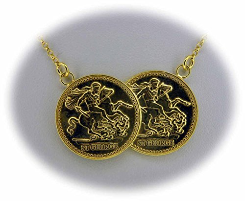 9ct gold double coin necklace 16 in amazon jewellery aloadofball Images