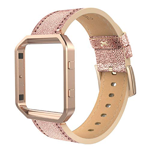 Simpeak Compatible for Fitbit Blaze Bands with Frame, Small, Multi Color, Genuine Leather Band for Fit bit Blaze Smartwatch Women Men, Bright Gold Band + Rose Gold Metal Frame