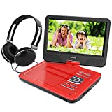 10.5 Inch Portable DVD Player for Kids with Swivel Screen, USB / SD Slot (RED)