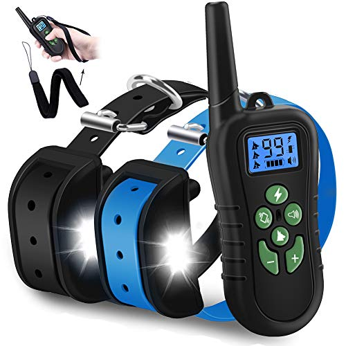 WDFZONE New 2019 Dog Training Collar with Remote for 2 Dogs Waterproof Rechargeable Range 1500 Ft Shock Collar with Remote for Small Medium Large Dogs
