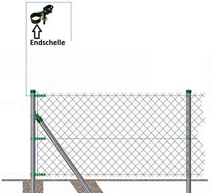 OuM 6 St/ück Endschelle 48mm f/ür Zaunstrebe//Pfosten Gr/ün