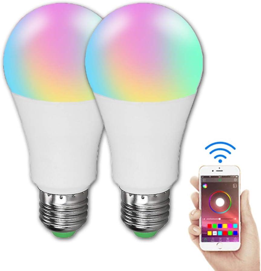 Bombilla Bluetooth Inteligente, Bombilla LED 15W con Cambio Color, Sincronización con Música, B22 RGB + Luz Blanca, para Decoración Hogar Bar Party KTV Stage Holiday, 2 Paquetes: Amazon.es: Deportes y aire libre