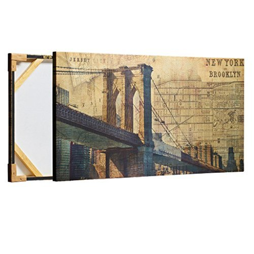 Decor MI Vintage Brooklyn Bridge Wall Art Poster New York City Decor Painting Wall Decorations NYC Giclee Print on Canvas for Offic Living Room Stretched and Framed Ready to Hang 24