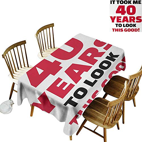 40th Birthday Rectangular tablecloths in a variety of