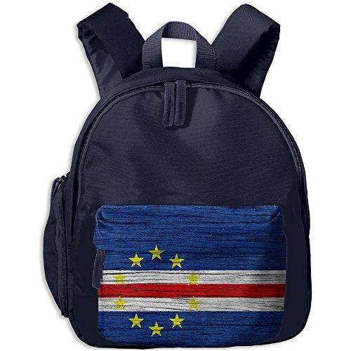 (Flag Of Cape Verde Wooden Texture Children Backpack Pocket Zipper Outdoor Travel School Book Bag)