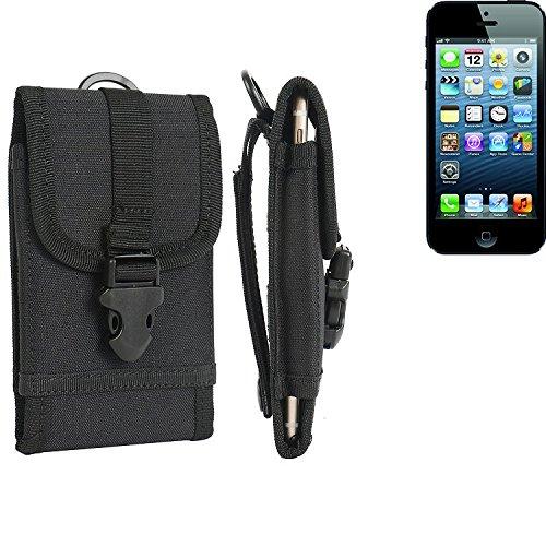 Gürteltasche / Holster für Apple iPhone 5, schwarz | extrem robuste Handyhülle Smarpthone Schutz Tasche Hülle outdoor / camping case - K-S-Trade(TM)