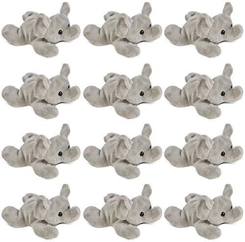 "Wildlife Tree 12 Pack Elephant Mini 4"" Small Stuffed Animals, Bulk Bundle Zoo Animal Toys, Jungle Safari Party Favors for Kids ()"