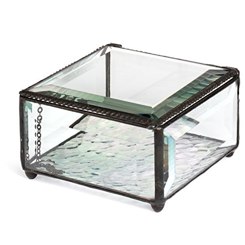 J Devlin Box 829 Clear Glass Box Keepsake Jewelry Trinket Box Home Decor Beveled Glass Display Box (Glass Keepsake)