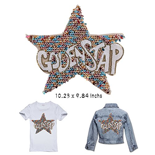 DIvine Large Colorful Star Sequins Patches Sew-On Clothing Accessories Decoration Appliqued for clothes DIY Patch Clothing Coat Jeans Craft Curtain