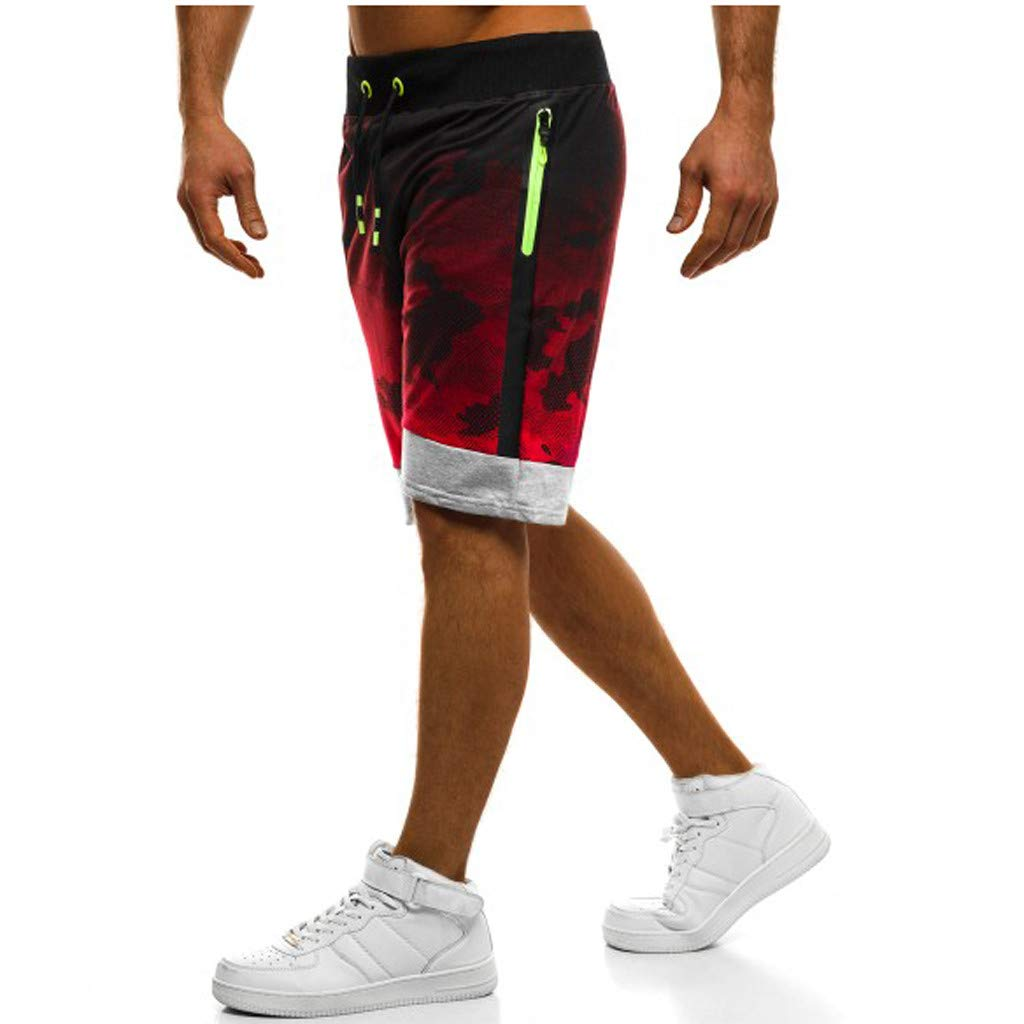 GREFER Mens Camo Short Pants Bodybuilding with Pocket Sports Fitness Pant