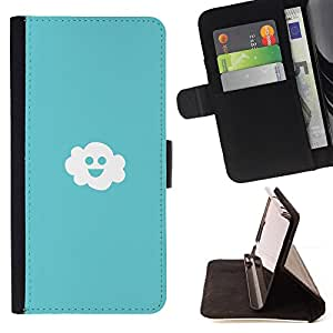 BullDog Case - FOR/Sony Xperia M2 / - / Friendly Happy Cloud /- Monedero de cuero de la PU Llevar cubierta de la caja con el ID Credit Card Slots Flip funda de cuer