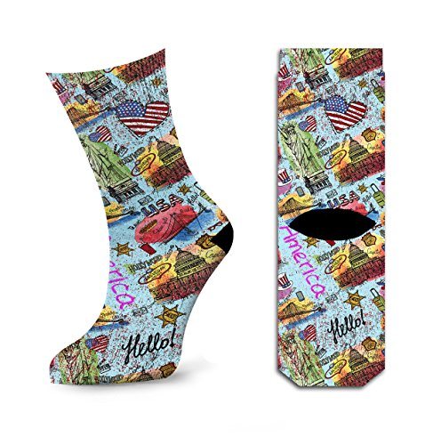 Men's Welcome To America Hello USA Flag Golden Gate Travel Paint Crew Socks by Samui