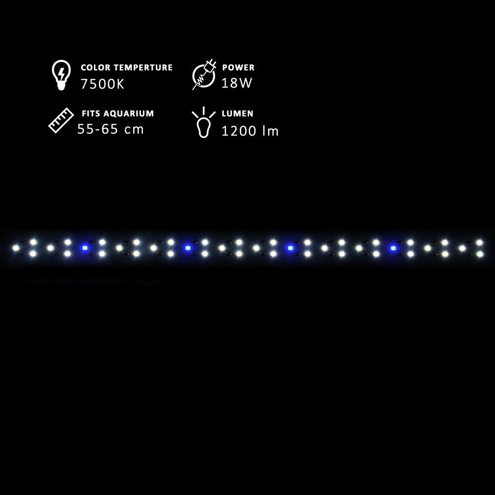NICREW DeluxeLED Pantalla LED de Acuario, Luz LED de Acuarios y Peceras, Lámpara Tanque Plantados, Iluminación LED para Acuario de Aluminio, 50-65 ...
