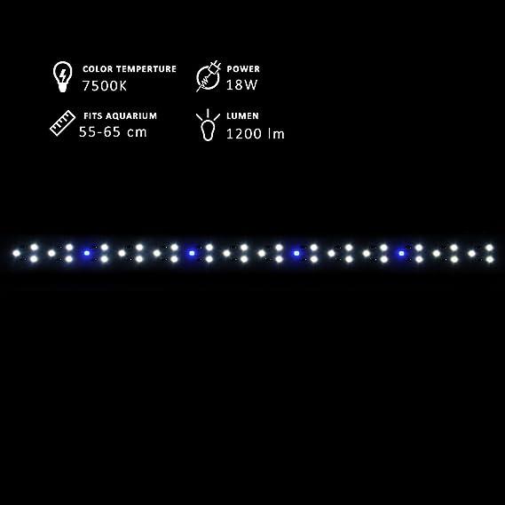 NICREW DeluxeLED Pantalla LED de Acuario, Luz LED de Acuarios y Peceras, Lámpara Tanque Plantados, Iluminación LED para Acuario de Aluminio, 50-65 cm 18W, ...
