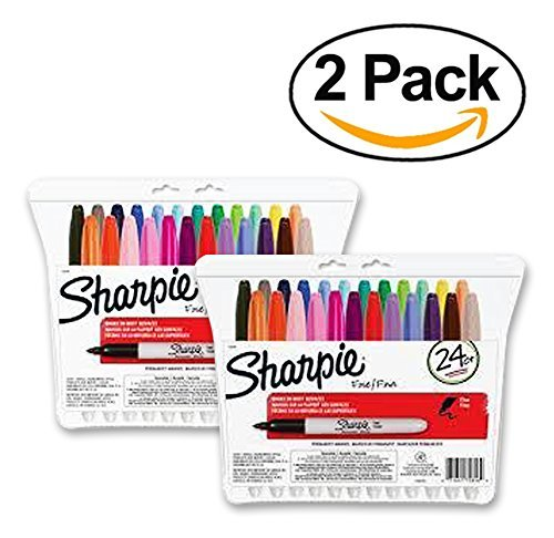 Sharpie Permanent Markers, Fine Point, Assorted Colors, 24-Pack (75846) (2 Packs of 24, Assorted Colors) ...