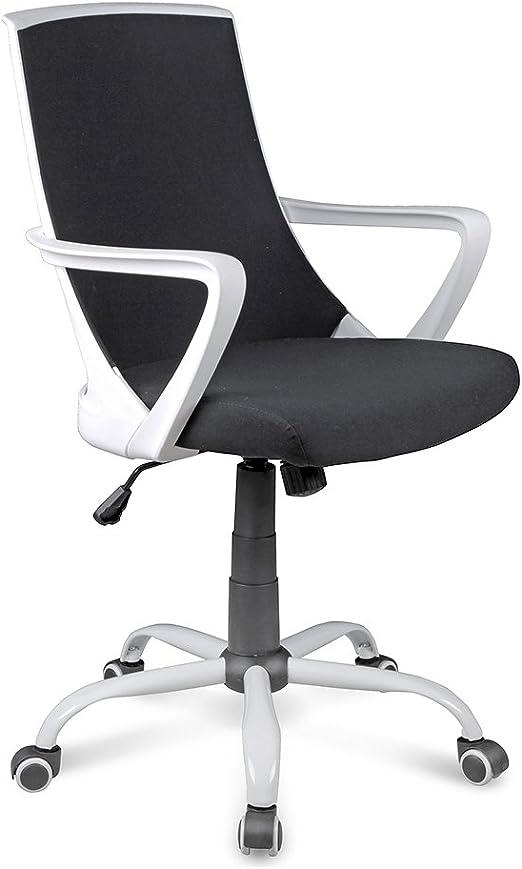 59x61x92.5 cm Nero//Bianco Metallo Tuoni Chat Poltrona Girevole