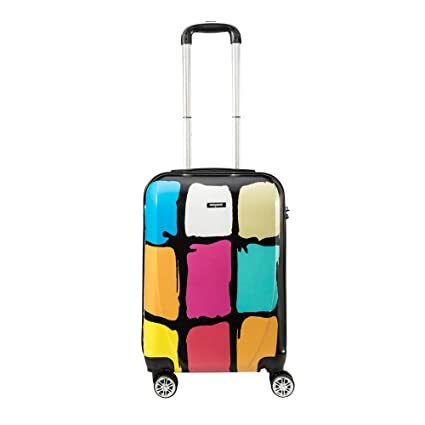 62469d711881 Amasava Lightweight Cabin Carry on Luggage ABS&PC Hard Shell Patterned  Lattice Print Travel Trolley Suitcase 4 Wheel 20