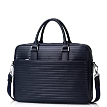 Sammons Unisex Genuine Leather Briefcase Bag Laptop Tote For Men 190311-06 (navy blue)