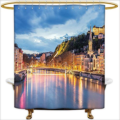 Qinyan-Home Bathroom Collection-Custom Waterproof View of Saone River in Lyon City at Evening France Blue Hour Historic Buildings for Multicolor. Shower Curtain with 12 Hooks.W54 x H78 Inch -