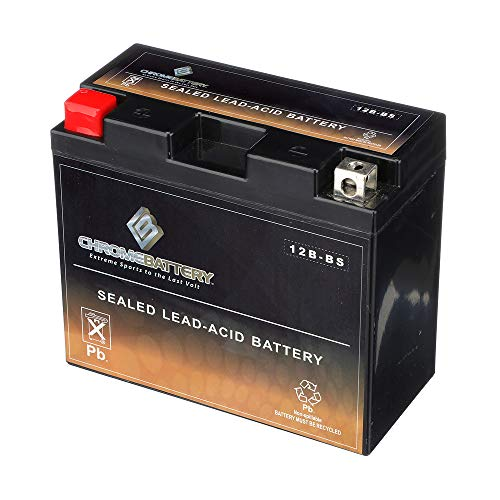 (YT12B-BS Powersport Battery- Rechargeable Sealed AGM Battery- Replaces MTX12B-BS, ETX12B-BS, PTX12B-BS- Chrome Battery)