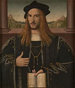 The high quality polyster Canvas of oil painting 'Bernardino Loschi Portrait of Alberto Pio ' ,size: 18 x 21 inch / 46 x 54 cm ,this Imitations Art DecorativeCanvas Prints is fit for Hallway gallery art and Home decoration and Gifts