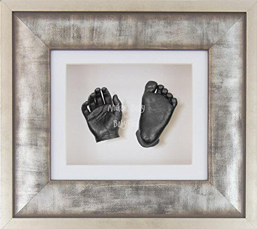 BabyRice 3D Baby Boy Casting Kit Urban Metal Effect Frame Pewter Foot Casts by BabyRice