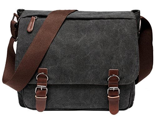 Kenox Vintage Classic Canvas Laptop Messenger Bag Crossbody School Bag Business Briefcase Black 16 Inches