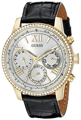 guess-womens-u0643l2-classic-black-gold-tone-multi-function-watch-with-genuine-crystals