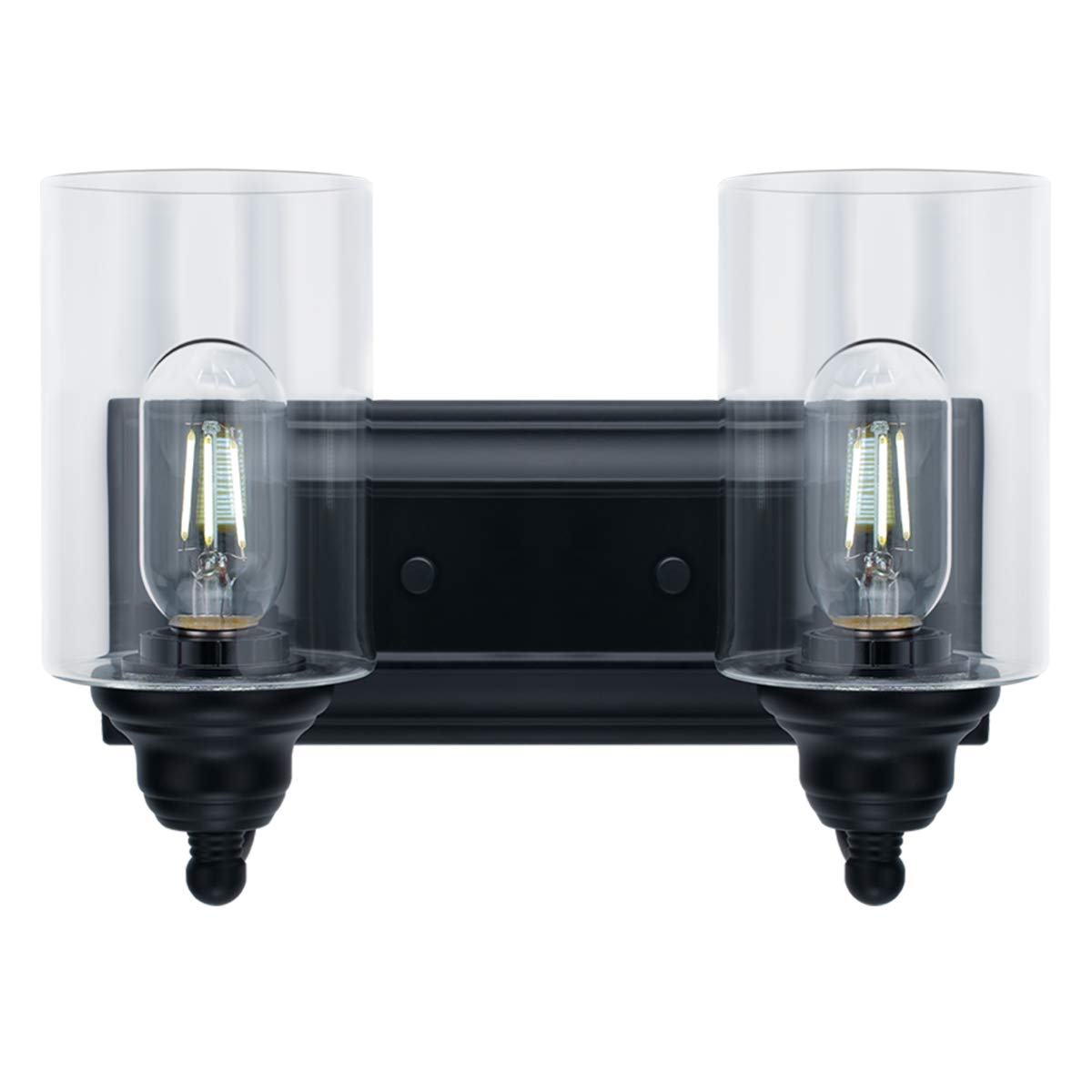 2-Light Vanity Light Fixture Modern Clear Glass Shades Lighting Black Dining Room Lighting Fixtures