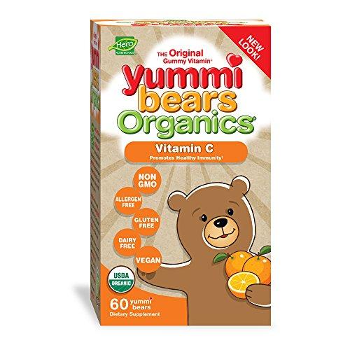 Yummi Bears Organics Gummy Vitamin Supplement for Kids, Vitamin C, 60 Count