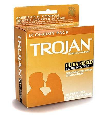 Trojan Ultra Ribbed - Lubricated Condoms, 36 pack,(Trojan)