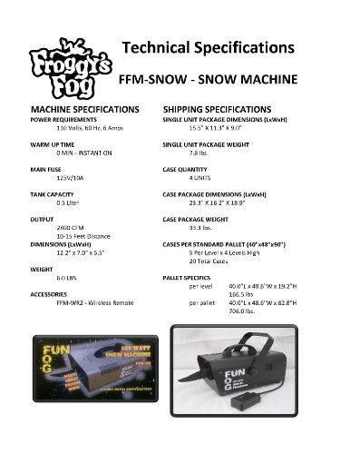 Froggys Fog – 600 Watt Snow Flake Machine for Outdoor or Indoor Use – Party Theatrical Snow Machine
