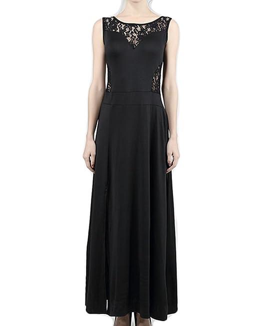 Vestidos Largos Elegantes de Mujer sin Mangas Vintage Encaje Coctel Vestido de Novia Negro S