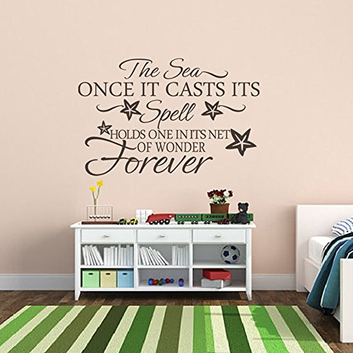 (MairGwall Beach Decor Wall Quote Decal - The Sea Once it casts its spell holds one in its net of wonder forever (Dark Brown, Large))