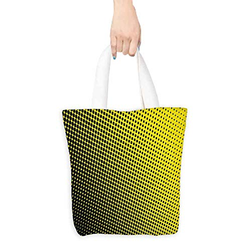 Craft canvas bag Yellow Ombre Pattern in Yellow Background with Black Dots from Big to Small Artwork Daily wallet handbag 16.5