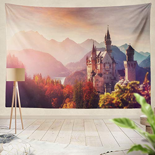 (Summor Tapestry Tipical Majestic Neuschwanstein Castle Sunset Colorful Clouds Under Sunlight Germany Natural Landscape Hanging Tapestries 60 x 80 inch Wall Hanging Decor for Bedroom Livingroom Dorm)