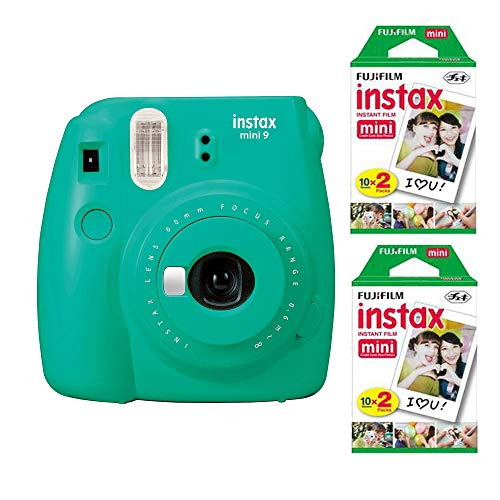 Fujifilm Instax Mini 9 Instant Camera (Arcadia Green) with 2 x Instant Twin Film Pack (40 Exposures) Bundle