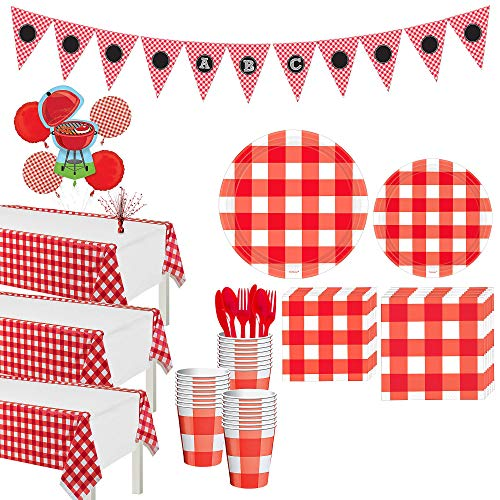 Party City American Summer Red Gingham Party Supplies for 32 Guests, 218 Pieces, Includes Tableware and Decorations