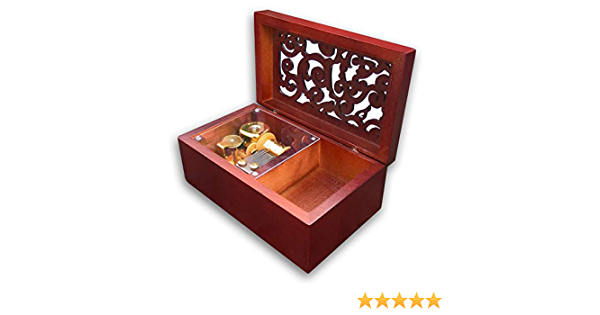"""Play /""""Here Comes the Bride/"""" Hollow out Wood Sankyo Music Box With a Jewelry Box"""