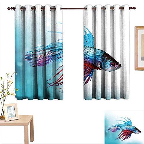 (Luckyee Aquarium Decor Curtains by Siamese Fighting Betta Fish Swimming in Aquarium Aggressive Sea Animal 63