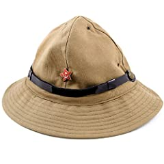 This panama hat was worn by Soviet and Russian Armed Forces in hot climates, like during the USSR's war with Afghanistan. Show your enthusiasm for the Red Army and wear a little piece of history with this reproduction vintage military hat!   ...