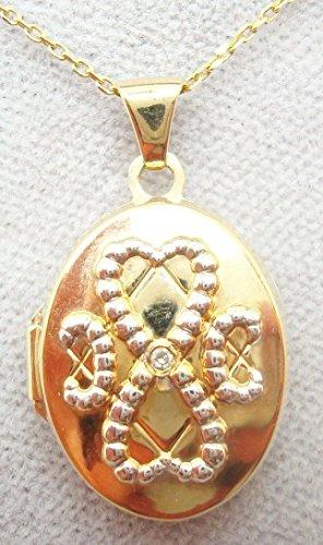 9K Oval Locket with Round Genuine Natural Diamond (#3070)