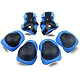 Kids Protective Gear SKL Knee Pads for Kids Knee and Elbow Pads with Wrist Guards 3 In 1 for Skating Cycling Bike Rollerblading Scooter (Blue, [Upgraded Vistion 3.0])