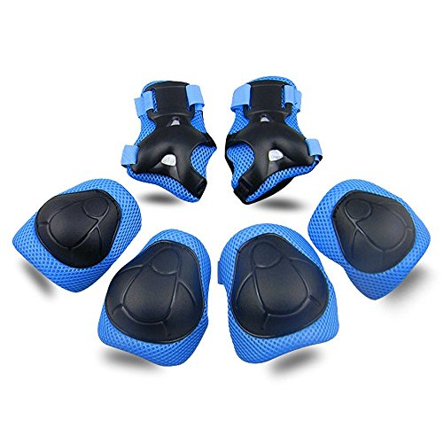 Kids Protective Gear SKL Knee Pads for Kids Knee and Elbow Pads with Wrist Guards 3 in 1 for Skating Cycling Bike Rollerblading Scooter (Blue, [Upgraded Vistion -