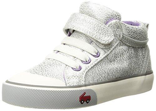 See Kai Run Girls' Peyton Sneaker, Silver Glitter, 5 M US Toddler