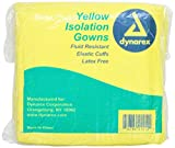 Dynarex Isolation Gown Fluid Resistant; Yellow Full Back, 50 Count