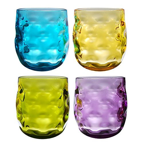 QG Clear Colorful Acrylic Plastic 14 oz. Wine Glass Rock Tumbler Set of 4 in 4 Assorted Colors