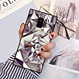 PERRKLD Galaxy S9 Squared Case Geometric Bling Diamond Design Heavy Duty Protection Shock Absorption Slim Soft TPU Edge and Hard PC Case Cover for Samsung Galaxy S9