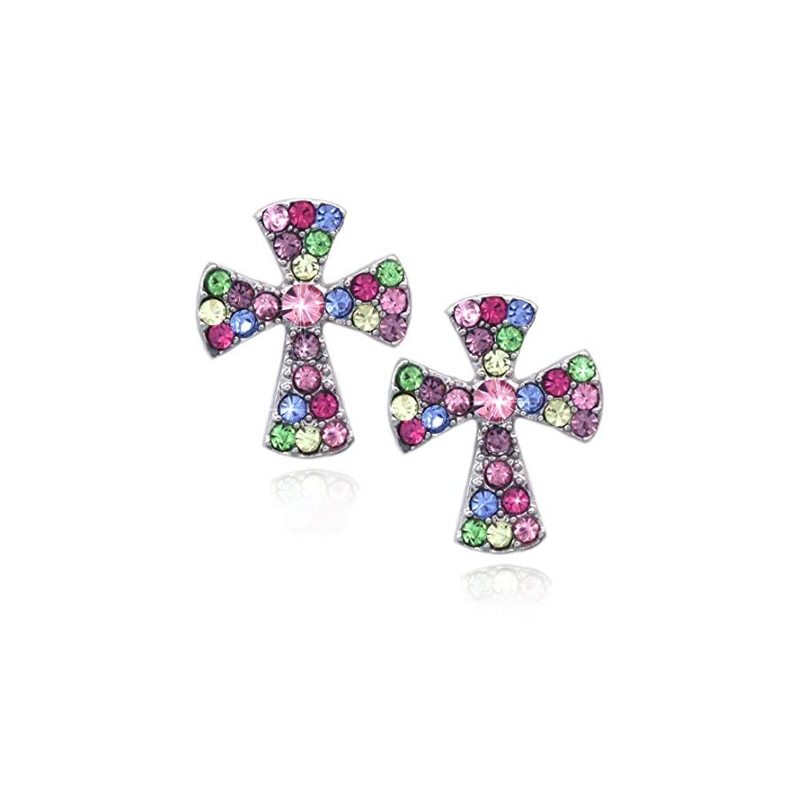 Small Cross Charm Post Stud Earrings Christian Catholic Jewelry Gift