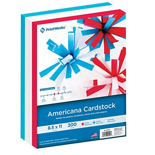 Printworks Americana Cardstock Collection, Heavyweight, Includes Patriotic Red, White & Blue Vellum Cardstocks, 200 Letter-Size Sheets Total, For Cards, Crafts, Signs & More (00595) ()